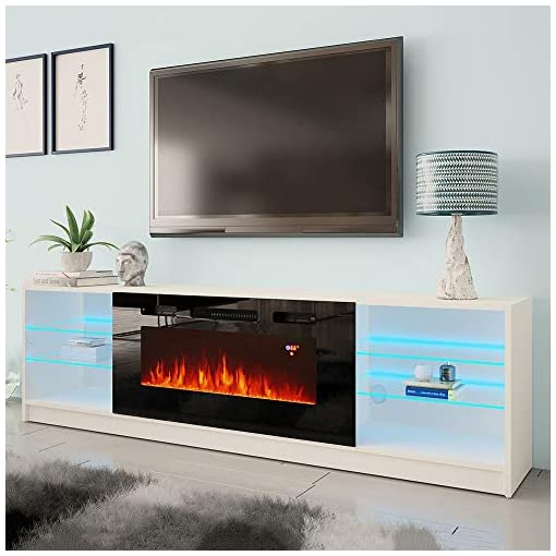 Living Room MEBLE FURNITURE & RUGS Boston 01 Electric Fireplace Modern 79″ TV Stand modern tv stands