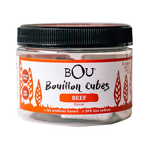 BOU Beef Flavored Bouillon Cubes, Pack of Six (6) 2.53 Ounce Containers Packed with Natural, Traditional Ingredients, Gluten-Free