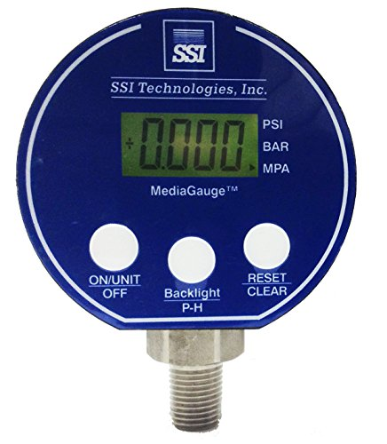 - SSI TECHNOLOGIES MG-9V Series Media Gauge Digital Pressure Gauge Sensor with LCD Display, 1000psig Operating Pressure, 9V, 0.25% Accuracy, 1/4-18 NPT Male Process Connector Type