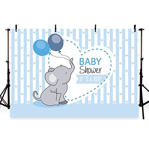 MEHOFOTO Photo Background Cute Blue Stripe Prince Boy Baby Shower Balloon Elephant Love Party Backdrops Banner for Photography 7x5ft