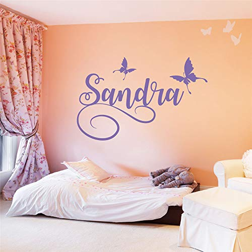 Lisoue Vinyl Peel and Stick Mural Removable Wall Sticker Decals for Room Home Personalized Name with Butterflies for Nursery Kids Room Girls Room ()