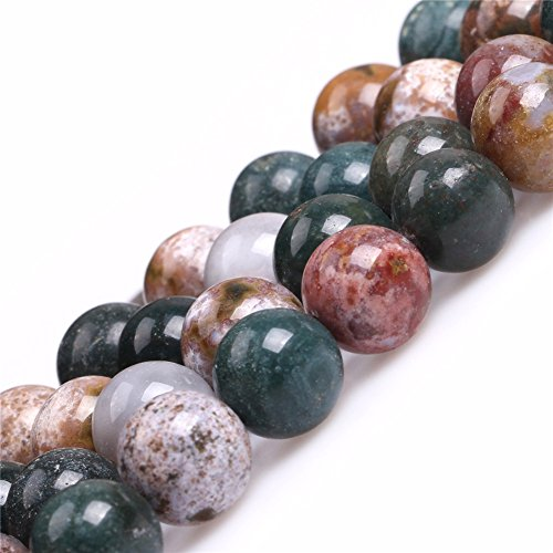 JOE FOREMAN 10mm Ocean Jasper Semi Precious Gemstone Round Loose Beads for Jewelry Making DIY Handmade Craft Supplies 15