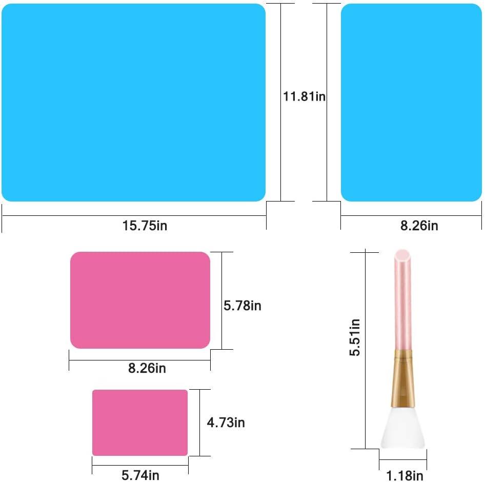 verres /à paillettes /époxy tapis de bureau anti-adh/ésif pour travaux manuels moulage de bijoux SENHAI Lot de 3 tapis en silicone avec 3 brosses en silicone