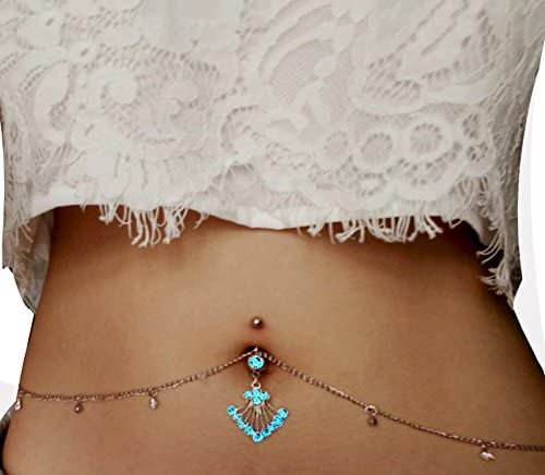 Fashion Women Crystal Body Jewelry Drop Navel Piercings Belly Button Ring ONE