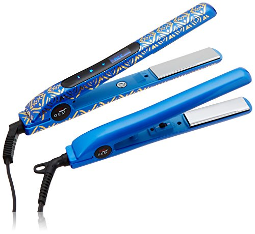 Iron Cobalt - CHI Smart Gemz Volumizing Zirconium Titanium Cobalt Blue Metallic Foil 1 Inch Hairstyling Iron With 3/4 Inch Travel Iron, Hair Clips and Thermal Pouch, Cobalt Blue Metallic