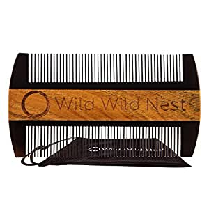 Wild Wild Nest Beard Comb, Pocket Size, Buffalo Horn and Sandalwood, No Static or Snagging, Handmade for Beard and Mustache