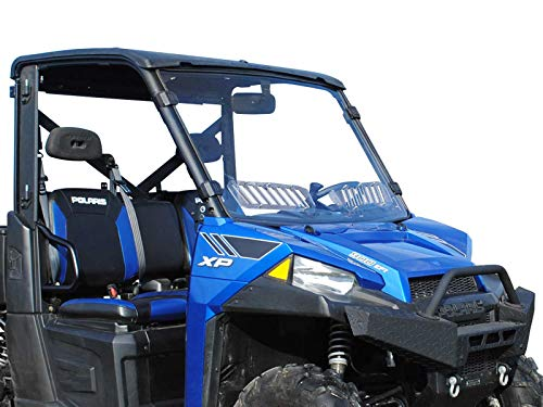 SuperATV Heavy Duty Scratch Resistant Vented Full Windshield for Polaris Ranger Full Size 900 / Crew (2013+) - Easy to Install! ()