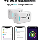 ANNBOS Smart Plug Wifi Wireless Home, Timing Outlet Remote Control anywhere Outlet with Energy Monitoring, No Hub Required Compatible with Alexa Echo and Google Assistant (pack of 2)