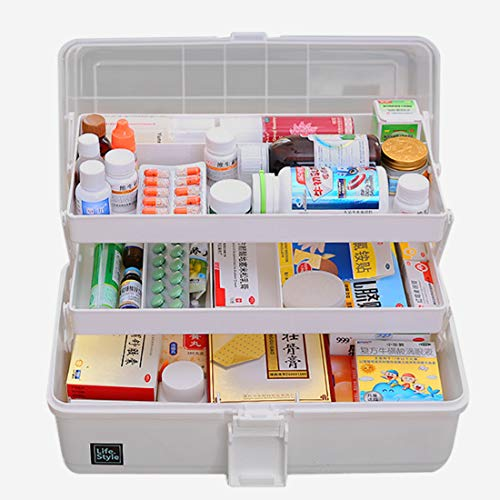 WOLFBUSH Plastic Medicine Box Oversize 3-Tier Family Emergency Kit Storage Organizer Multi-Functional Storage Box with Handle for Medicine Cosmetic, 33×18×17.5cm (Grey) (Medical Storage Containers)