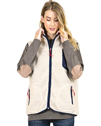 Preppy Doll Women's Fleece Vest With Multi Zipper (Medium) - Multi Zipper Vest