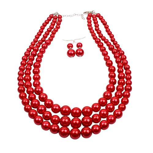 Plastic Beads Necklace Earrings - KOSMOS-LI 3 Layer Red Color Imitate Pearl Bead Strand Necklace