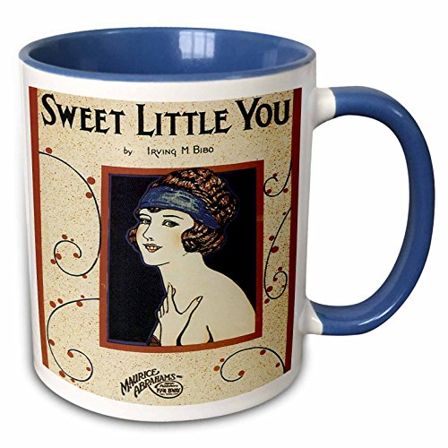 (3dRose BLN Vintage Song Sheet Covers Reproductions - Sweet Little You Woman in Flapper Style Dress - 15oz Two-Tone Blue Mug (mug_170480_11))