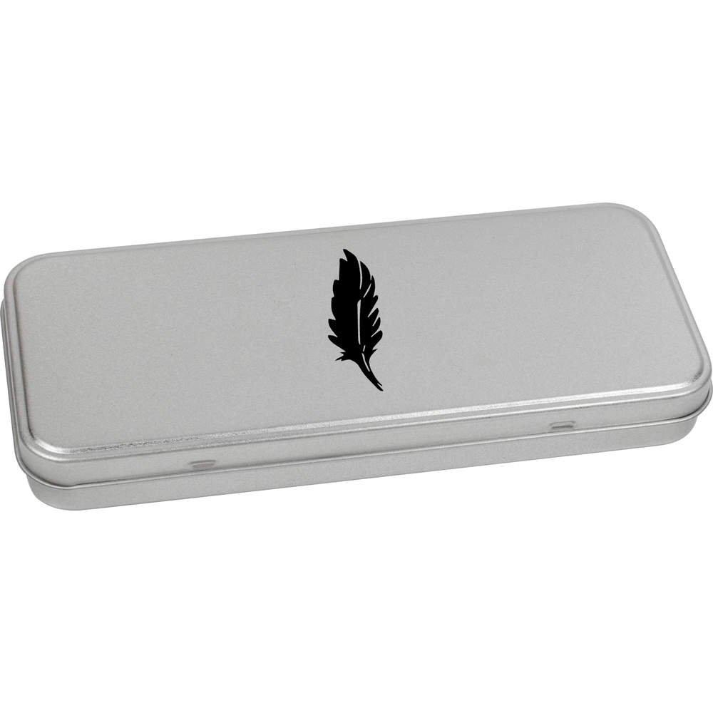 Azeeda 180mm x 75mm 'Plume Silhouettée' boîte de Papeterie métal / boîte de Rangement (TT00076946)