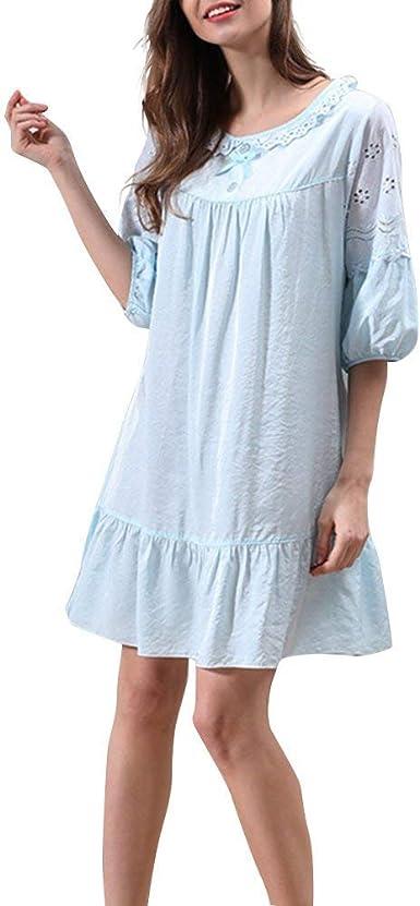 Elegante Vestido De Noche Vestidos De Moda Noche Algodón Cálido con Mangas Cortas con Pijamas De Encaje Camisón para Damas Azules: Amazon.es: Ropa y accesorios