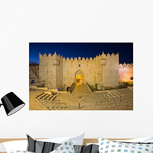 Wallmonkeys Jerusalem Damascus Gate Dusk Wall Mural Peel and Stick Graphic (36 in W x 23 in H) WM362784