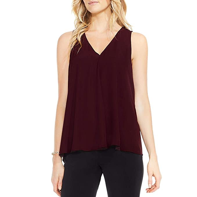 3c26166ade86 Vince Camuto Womens Sleeveless V-Neck Drape Front Blouse Deep Claret SM One  Size