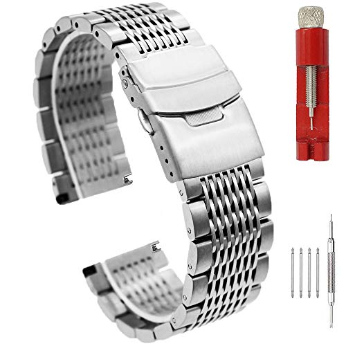 (Brushed Silver 22mm Watch Band Stainless Steel Bracelet Watch Strap Deployment Clasp Mesh Watch Belt for Men Women)