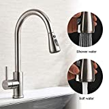 Pawaca Single Handle High Arc Brushed Pull Out Faucet, Lead-free Stainless Steel Home Garden Kitchen Sink Faucets Pull Down Sprayer & Replacement Connector