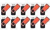FEBNISCTE Pack of 10 Swivel 16GB USB2.0 Thumb Drive - Red