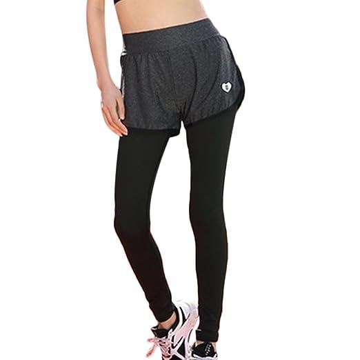 03761a63e2d Women Korean Style Fitness Skinny Fake Two-Pieces Yaga Sports Leggings Pants  (S)