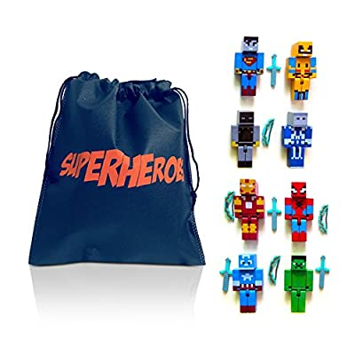 Mini Action Figure Pixelated Superheroes & Bag from NEW
