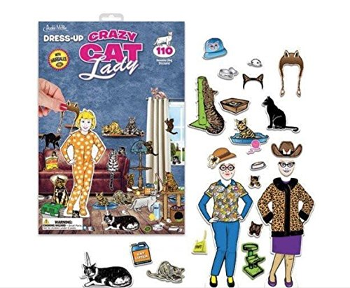 Crazy Cat Lady Dress Up Doll – Vinyl Cling Cutout Toy, Mix Outfits, -