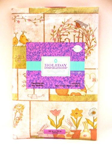 Jo-ann's Holiday Inspirations Easter Faith Tablecloth,birds,faith,believe,vinyl/polyester (52''x52'') by Holiday Inspirations