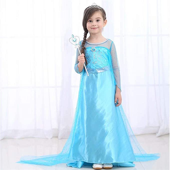 Ice Snow Queen Halloween Party Cosplay for Kids Baby Toddler Little Child Girls Princess Costume Dress