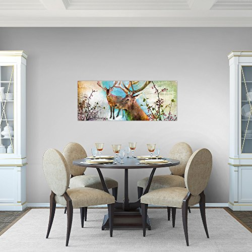 Bilder-Natur-Hirsch-Wandbild-Vlies-Leinwand-Bild-XXL-Format-Wandbilder-Wohnzimmer-Wohnung-Deko-Kunstdrucke-Bunt-1-Teilig-100-MADE-IN-GERMANY-Fertig-zum-Aufhngen-012012a