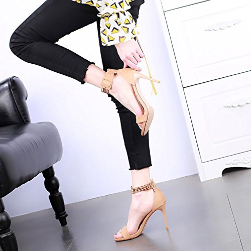 yellow alti temperamento partito stiletto nuovo banchetto YMFIE tacchi open sandali elegante alto tacco sexy Estate toe moda pBaxqTw