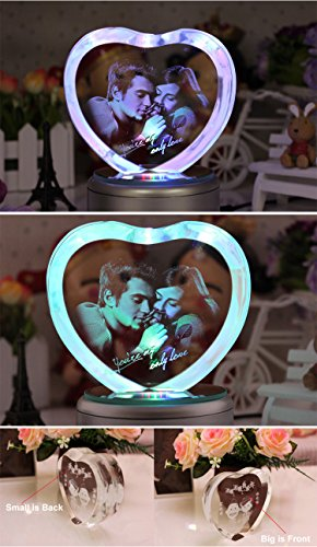LIWUYOU Personalized Custom Photo and Text Colorful Romantic Crystal Music Box, Engrave You're my only love, Heart Couple, Bluetooth base by LIWUYOU (Image #7)
