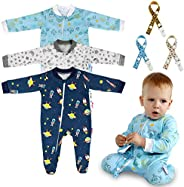 Lictin Baby Long-Sleeved Romper Zipper Pajamas -6 Pcs 100% Cotton Pajamas with Pacifier Chains and Hat