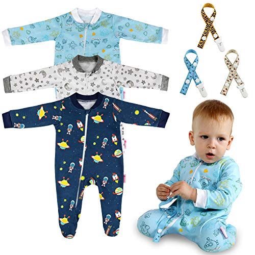 Lictin Baby Footed Pajamas (6-10M) - 100% Cotton 3pc Baby Long-Sleeved Romper Zipper Pajamas with 3pc Pacifier Chains White/Blue/Navy