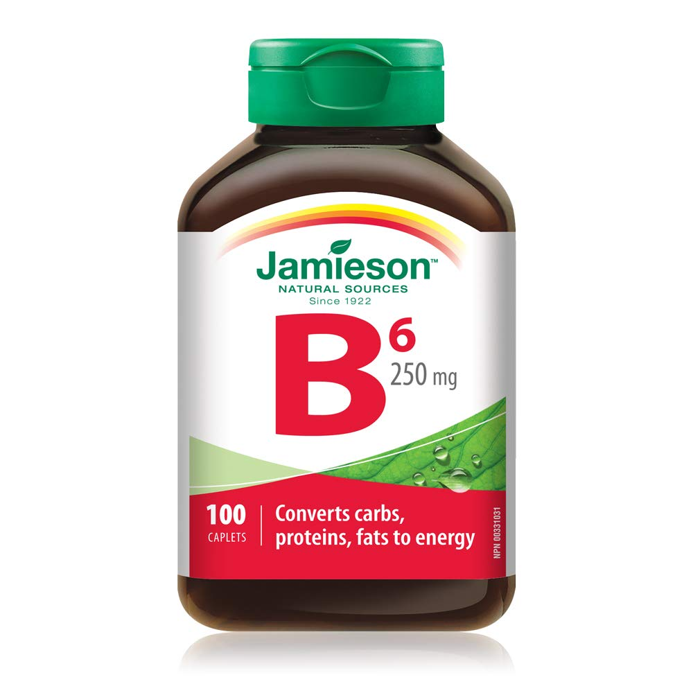 Jamieson Vitamin B6 (Pyridoxine)250mg, 100 caplets by Jamieson Laboratories