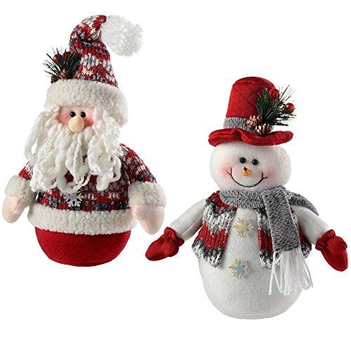 WeRChristmas Santa Snowman Christmas Table Decorations, 25 Cm - Red/Grey, Set Of 2