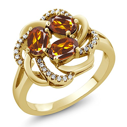 Red Madeira Citrine 18K Yellow Gold Plated Silver Ring (Size 7) ()