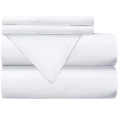 Mellanni 100% Cotton Bed Sheet Set - 300 Thread Count Sateen Weave - Natural, Soft, Deep Pocket Quality Luxury Bedding - 4 Piece (Full, White)