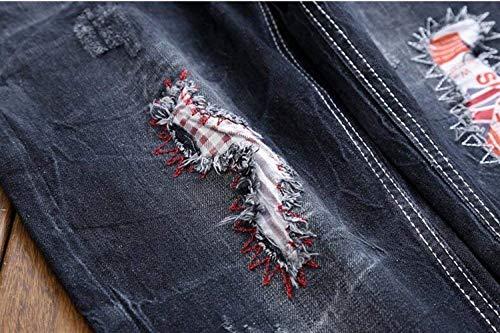 Lavano Classiche Da Uomini Ricoprono Casuali Degli I Di Retro Pantaloni Abbigliamento Diritti Sottili Stile Le Cotone Del Tendenze Blau Foro Jogging Jeans Che Esterne Ricamo 0nE87F