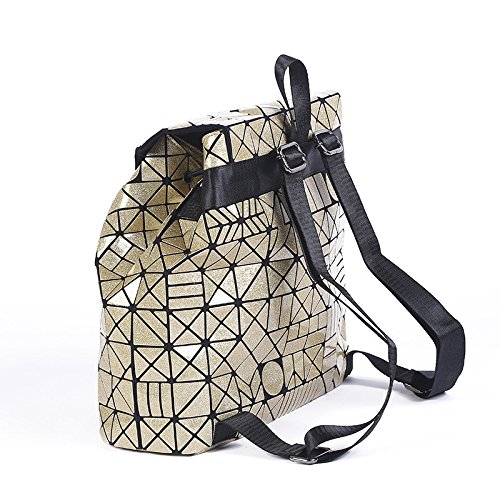 Shoulder Female Leather Folding Bag Geometric and Travel Bag Lovers Japanese Cube Backpack Rucksack Male Laser Lightgold Lingge Outdoor Patent B1wXCq
