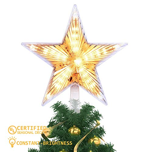 YUNLIGHTS 8 Inch Lighted Christmas Tree Topper, Classic 5 Point Star Treetop with 20 LED, Warm White Clear Light for Christmas Tree Decoration (Lit Tree Star Topper)