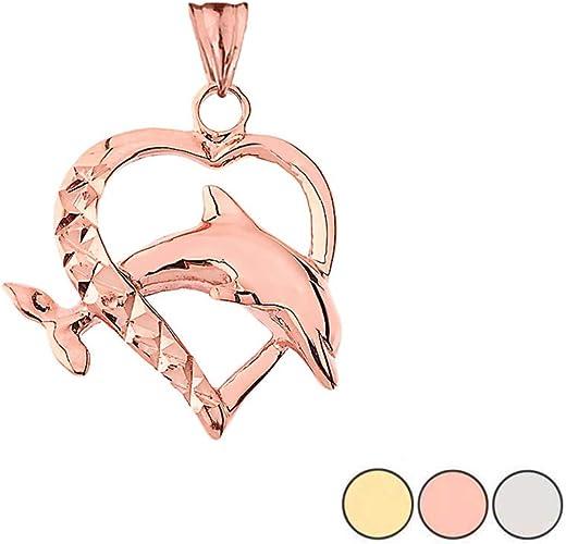 Elegant 10k Gold Dolphin Heart-Shaped Love Pendant Necklace