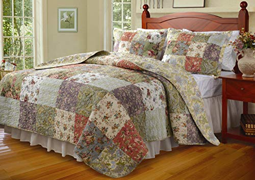 Greenland Home Blooming Prairie 100% Cotton Authentic Patchwork Quilt Set, 3-Piece King/Cal King