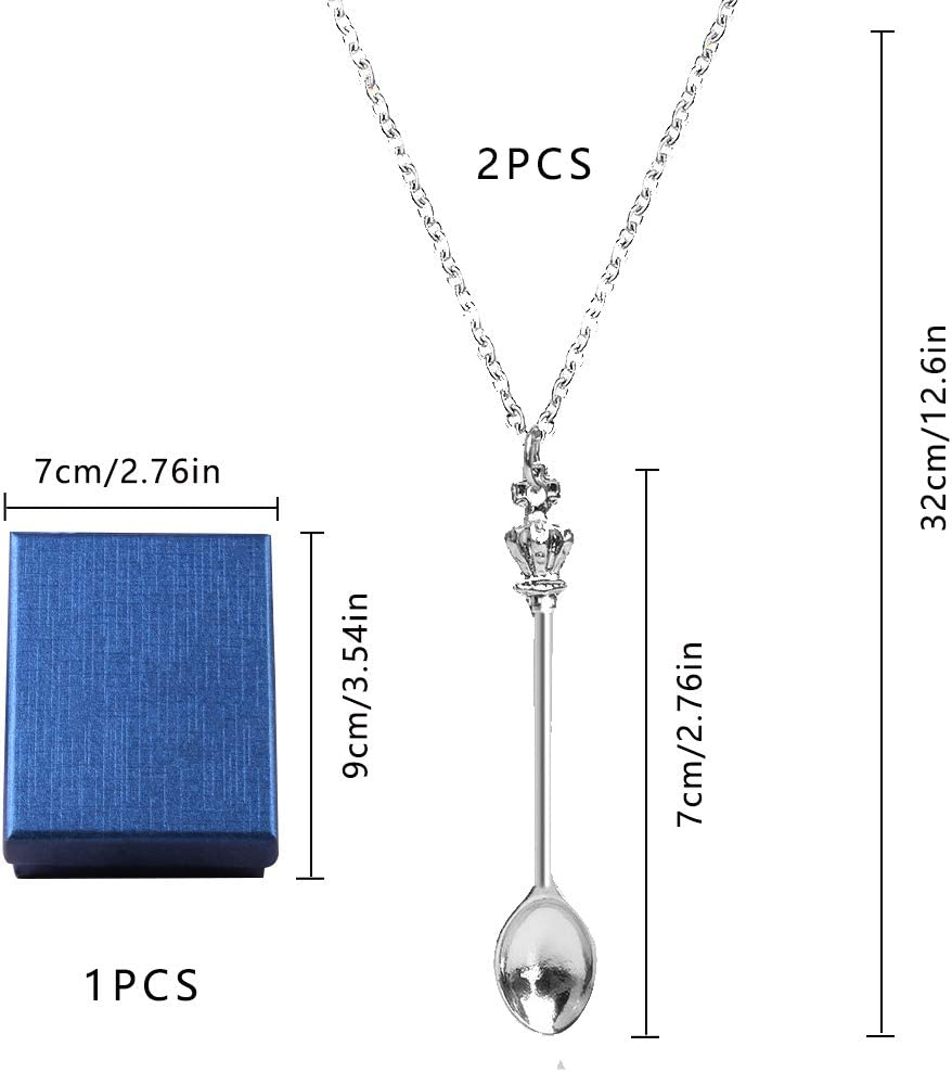 2 Pack Mini Crown Tea Spoon Pendant Necklace with Snuff Spoon Keychain for Women Girls Silver AUEAR