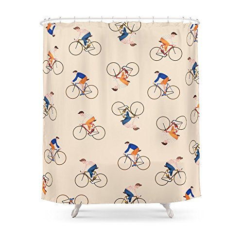 """Society6 Bike Pattern Shower Curtain 71"""" by 74"""""""