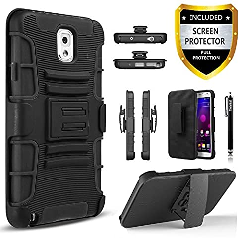 Galaxy Note 3 Case, Combo Shell Cover Kickstand with Built-in Holster Locking Belt Clip+Circle(TM)Touch Screen Pen And Screen (Galaxy Note 3 Phone Case Black)