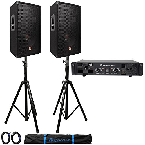 "2 Rockville RSG12.4 12"" 1000w DJ Speakers+RPA5 1000w Ampli"