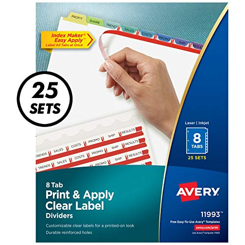 Avery 8-Tab Binder Dividers, Easy Print & Apply Clear Label Strip, Index Maker, Pastel Tabs, 25 Sets (11993) ()