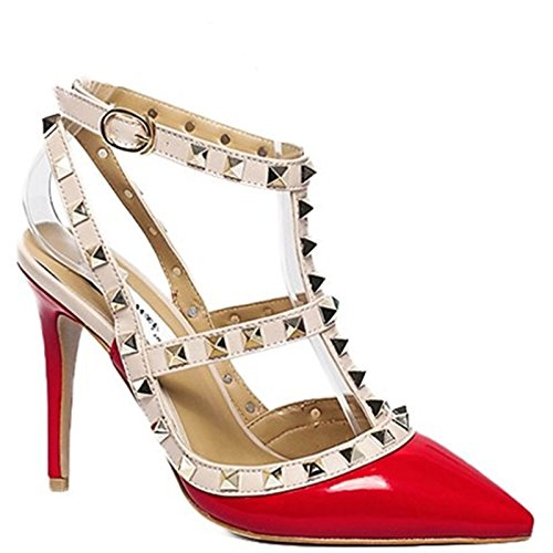 King Of Shoes Elegante Damen Riemchen Abend Sandaletten High Heels Pumps Lack Stilettos Schuhe GH2 Rot