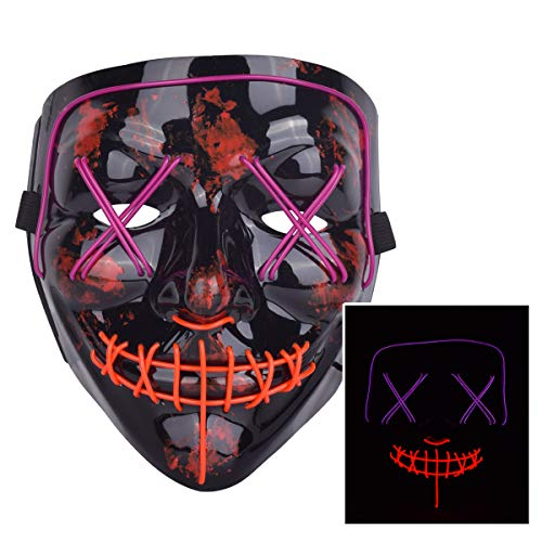 ZOY Scary LED Mask Halloween Costume Light up Mask Cosplay EL Wire Mask Glowing mask (Purple and Red) -