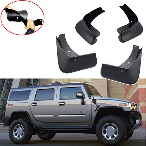 EIGIIS Original Front & Rear Hummer H2 H3 Custom Mud Flaps Splash Guards Fender for Hummer H3 2006-2010 (H3)